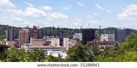 A view of the skyline of downtown Charleston, West Virginia. - stock photo