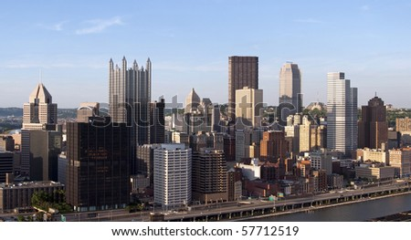 A view of the skyline of downtown Pittsburgh, Pennsylvania. - stock photo