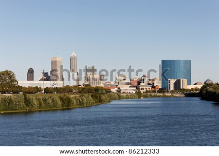 A view of the skyline of Indianapolis, Indiana. - stock photo