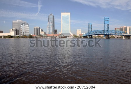 A view of the skyline of Jacksonville Florida - stock photo