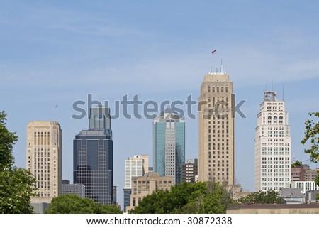 A view of the skyline of Kansas City Missouri - stock photo