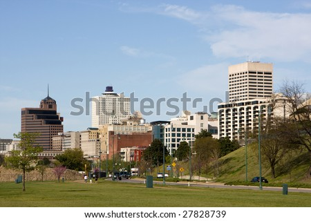 A view of the skyline of Memphis, Tennessee looking north from the Mississippi River.