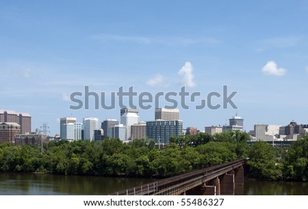 A view of the skyline of Richmond, Virginia. - stock photo