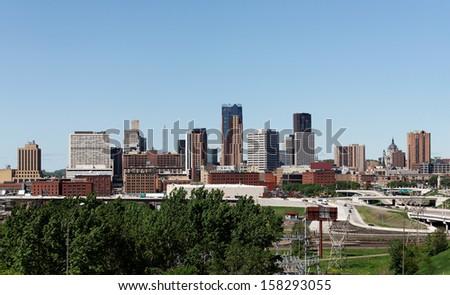 A view of the skyline of Saint Paul, Minnesota. - stock photo