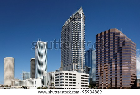 A view of the skyline of Tampa, Florida. - stock photo