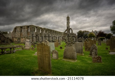 A view of the St Andrews cathedral ruins, Scotland - stock photo
