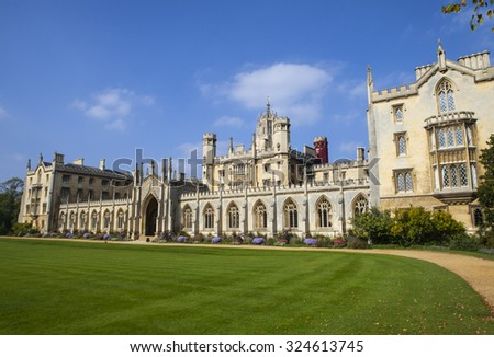 A view of the stunning St. Johns College in Cambridge, UK. - stock photo