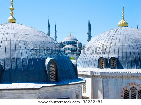 A view of the Sultan Ahmet mosque from behind other cupolas.