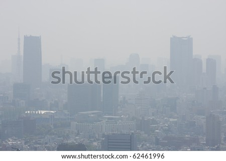 A view of the Tokyo skyline showing haze