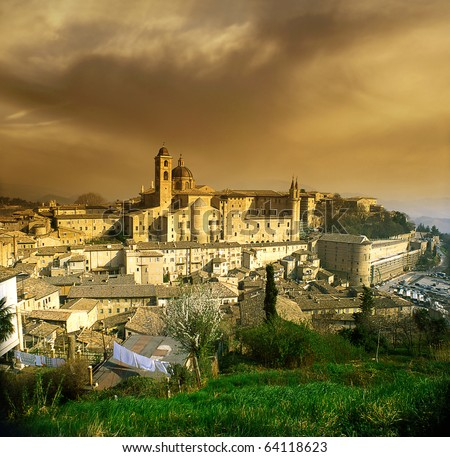 A view of the town of Urbino, Marche region in Italy, UNESCO - stock photo