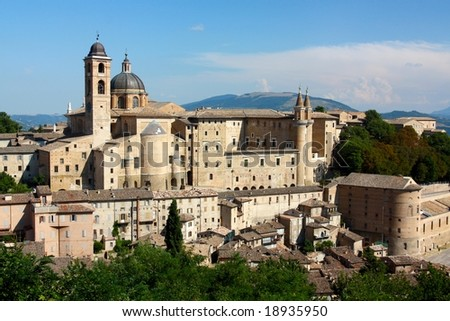 A view of the town of Urbino. Urbino is a walled town in the Marche region in Italy and it is a World Heritage Site. - stock photo