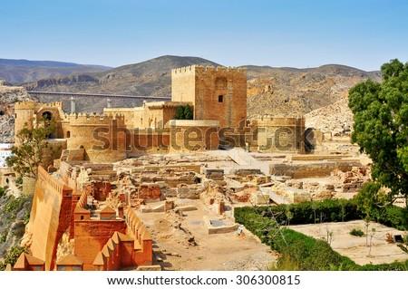 a view of the walls of the Alcazaba of Almeria, in Almeria, Spain - stock photo