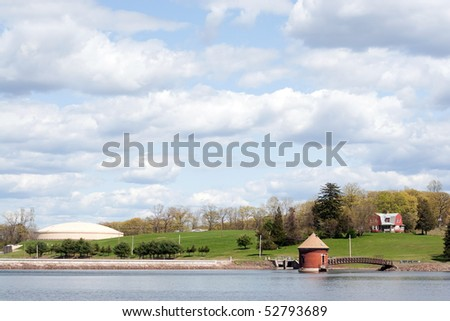 A view of the water at the Southington reservoir on the New Britain Southington town line in Connecticut. - stock photo
