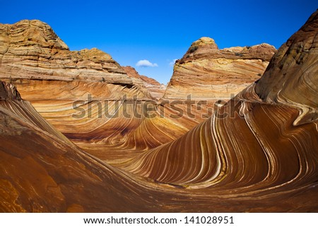 """A view of """"The Wave"""" an unusual geological formation in northern Arizona - stock photo"""