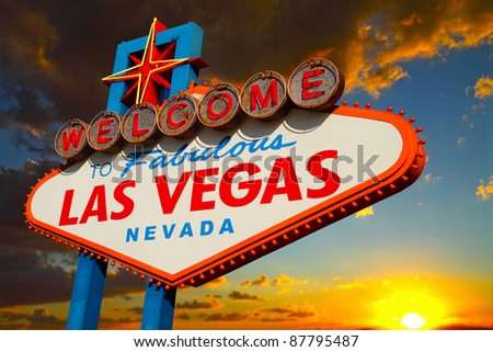 A view of the Welcome to fabulous Las Vegas sign - stock photo