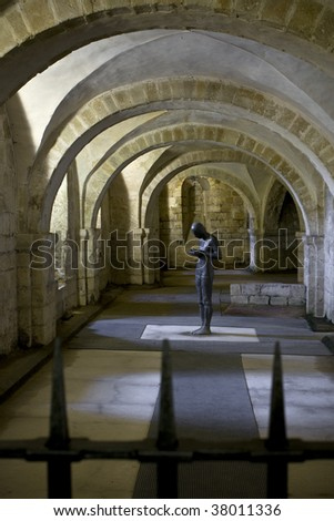 A view of the Winchester Cathedral Crypt - stock photo