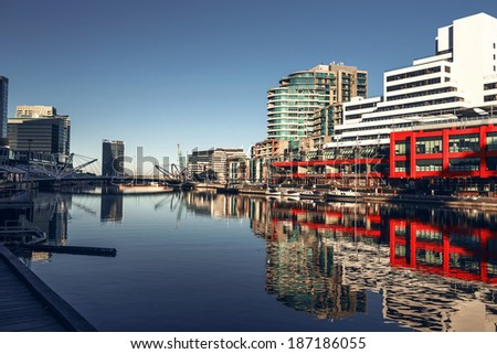A view of the Yarra River, Melbourne, Victoria, Australia - stock photo