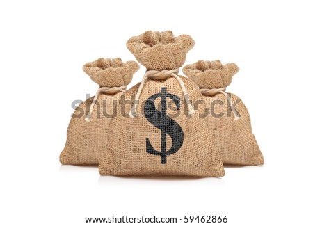 A view of three money bags with US dollar sign against white background - stock photo