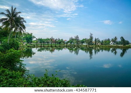 A view of tropical countryside with coconut trees and lake