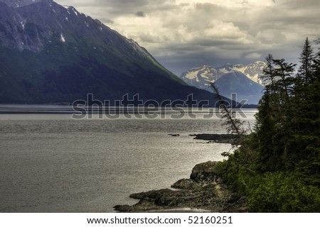 A view of Turnagain Arm, Cook Inlet from the Kenai Peninsula, Alaska. - stock photo
