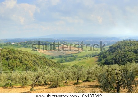 a view of Tuscany countryside - stock photo