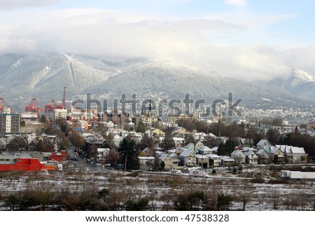 A view of vancouver city after snow - stock photo