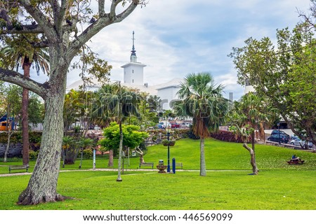 A view of Victoria Park, centrally located in the city of Hamilton, Bermuda. - stock photo