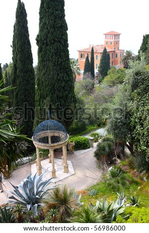 A view of Villa Hanbury Gardens, with the Villa in the background, Mortola village, near Ventimiglia, Liguria, Italy - stock photo