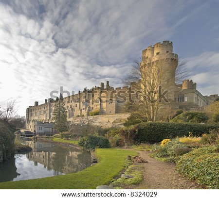 A view of warwick castle and the river avon, warwickshire midlands england uk. - stock photo