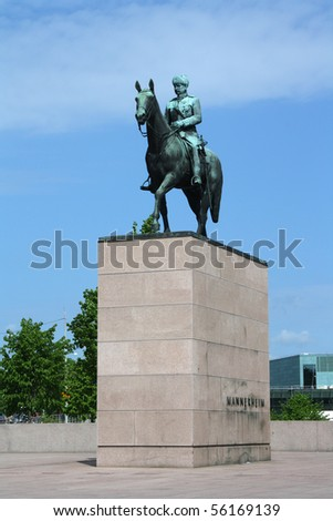 A view on Mannerheim monument in Helsinki - stock photo