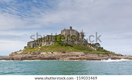 A view on St Michael's Mount from the sea in Cornwall in the United Kingdom.