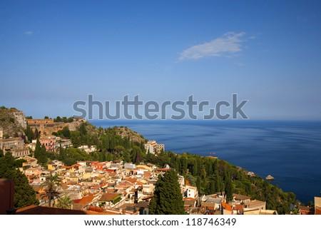 A view on taormina - stock photo