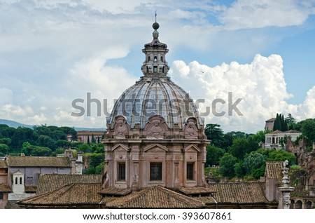 A view on the church of Santa Lucia on the Forum Romanum during summertime in Rome, Italy - stock photo