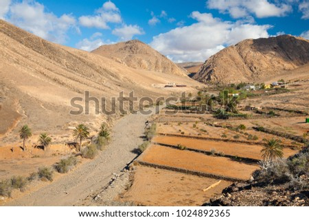 A view on the Hermitage Las Penitas area of the rural Betancuria nature park in the center of Fuerteventura, one of the Spanish Canary Islands