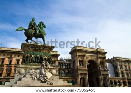 A view on the main square of Milan, the Piazza del Duomo - stock photo