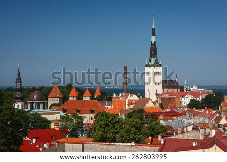 A view over lower old town of Tallinn, Estonia - stock photo