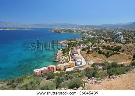 A View over the Agios Nikolaos, Crete, Greece - stock photo