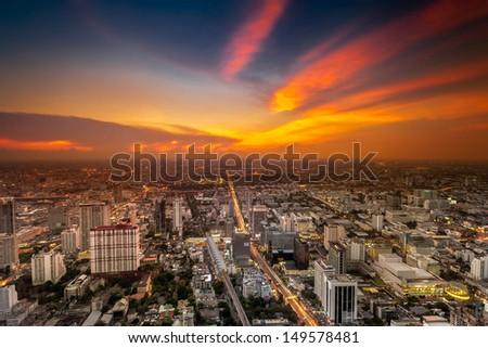 A view over the big asian city of Bangkok , Thailand at nighttime - stock photo