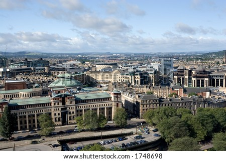 A view over the financial district of Edinburgh, Scotland - stock photo