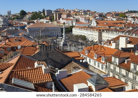 A view over the red rooftops of Lisbon city, the capital city of Portugal from the heights of the Funicular Elevador de Santa Justa.