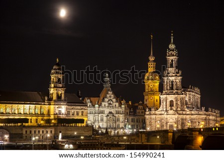 A view over the river Elbe to the new historical city of Dresden in East Germany at night. - stock photo