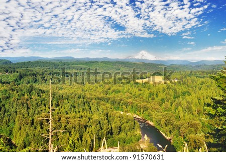A View  Sandy River Valley Oregon on a sunny day - stock photo