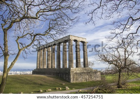A view surrounded by fallen leave trees of Acropolis of Edinburgh, Scotland