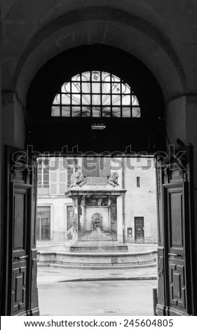 A view through open doors on the fountain with mythological lions at city hall square in Arles (Provence, France) Architectural detail. Aged photo. Black and white. - stock photo