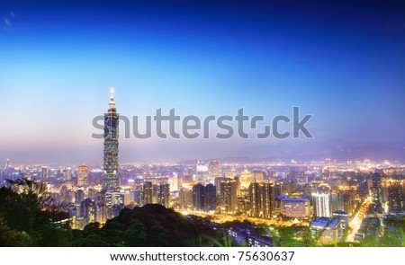A view to a  beautiful and a clear evening, looking at Taipei-101 and Taipei City from a popular mountain park--Elephant Mountain, Taipei, Taiwan - stock photo