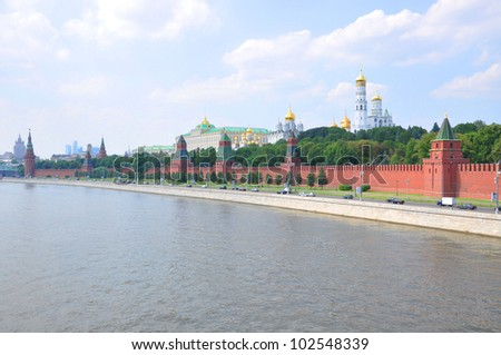 A view to Kremlin from Moscow river, Moscow, Russia - stock photo