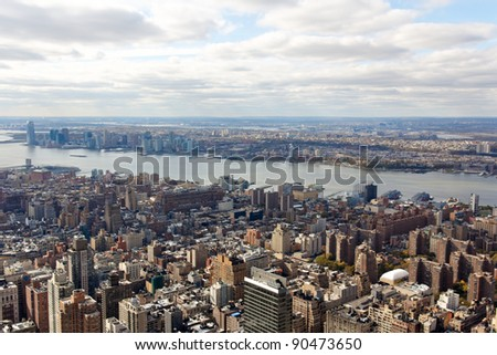 A view towards New Jersey from the Empire State Building in New York, NY. - stock photo