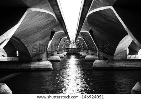 A view under Esplanade bridge, Singapore - stock photo