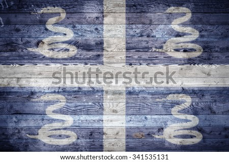 A vignetted background image of the flag of Martinique painted onto wooden boards of a wall or floor. - stock photo