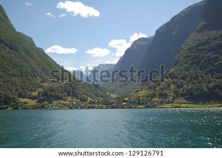 A village at the edge of the Sognefjord, the Norway's longest and deepest fjord.